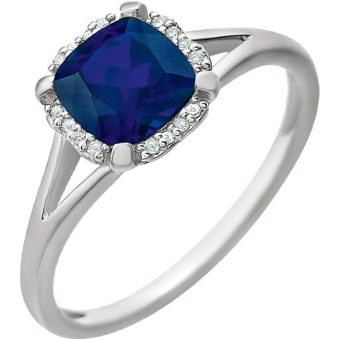 14kt White Gold 1.3 ct Chatham Created Sapphire Halo Ring with 1/20 ct Diamonds