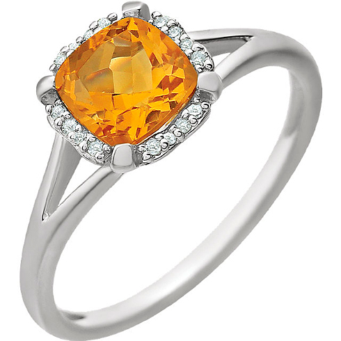 14kt White Gold 9/10 ct Citrine Halo Ring with 1/20 ct Diamonds