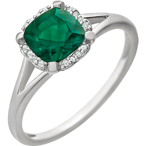 14kt White Gold 9/10 ct Chatham Created Emerald  Halo Ring with 1/20 ct Diamonds