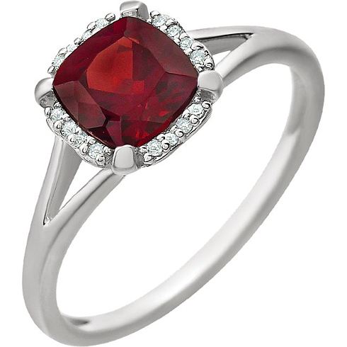 14kt White Gold 1.1 ct Garnet Halo Ring with 1/20 ct Diamonds
