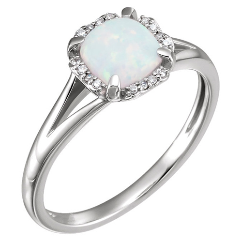 14kt White Gold 4/5 ct Created Opal Halo Ring with 1/20 ct Diamonds