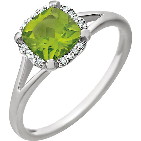 14kt White Gold 1.0 ct Peridot Halo Ring with 1/20 ct Diamonds