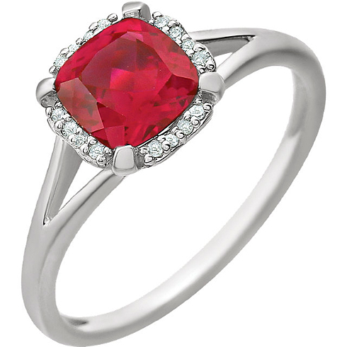14kt White Gold 1.3 ct Chatham Created Ruby Halo Ring with 1/20 ct Diamonds
