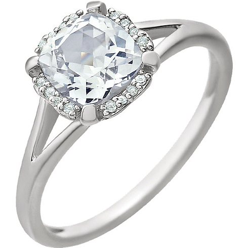 14kt White Gold 1.0 ct Created White Sapphire Halo Ring with 1/20 ct Diamonds
