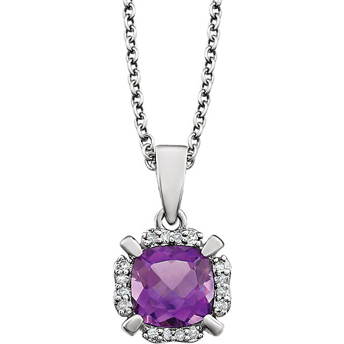 14kt White Gold 4/5 ct Cushion Cut Amethyst & Diamond Halo Necklace