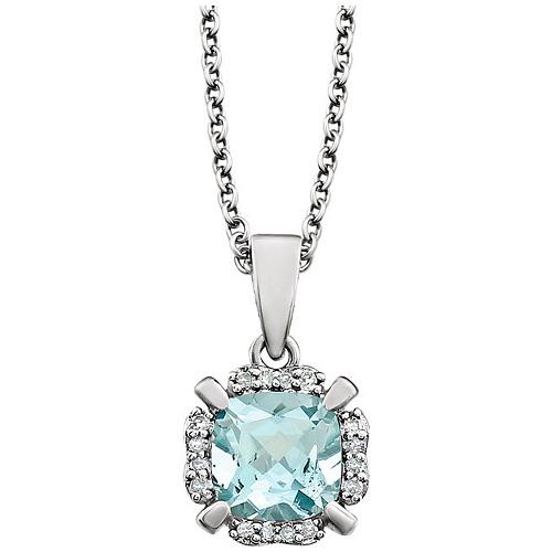 14kt White Gold 9/10 ct Cushion Cut Aquamarine & Diamond Halo Necklace