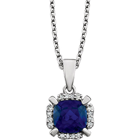 14kt White Gold 1.3 ct Cushion Cut Created Blue Sapphire & Diamond Halo Necklace