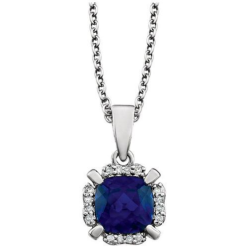 14kt White Gold 1.3 ct Cushion Cut Blue Sapphire & Diamond Necklace
