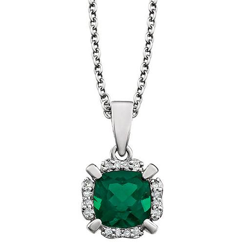 14kt White Gold 9/10 ct Cushion Cut Created Emerald & Diamond Halo Necklace