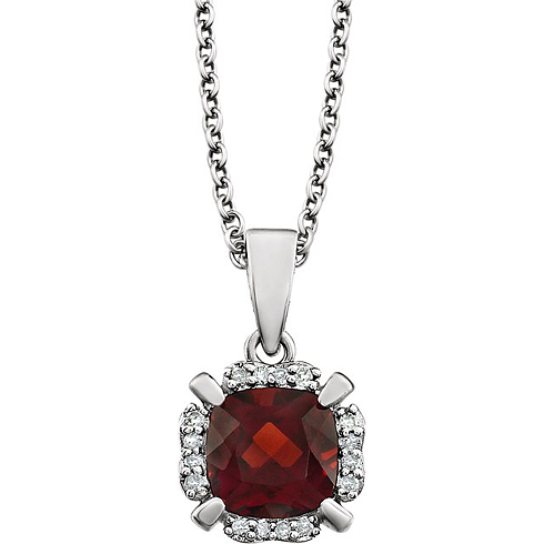 14kt White Gold 1.1 ct Cushion Cut Garnet & Diamond Halo Necklace