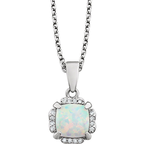 14kt White Gold 4/5 ct Cushion Cut Created Opal & Diamond Halo Necklace
