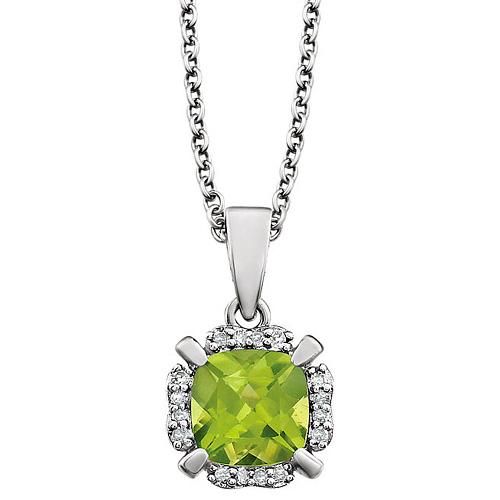 14kt White Gold 1 ct Cushion Cut Peridot & Diamond Halo Necklace