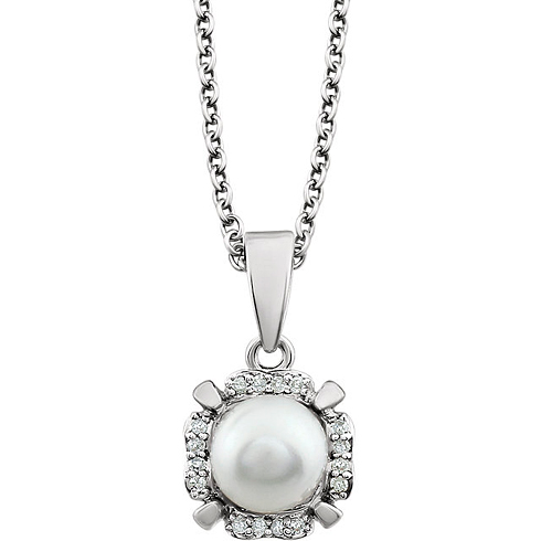 14kt White Gold 7mm Freshwater Cultured Pearl & Diamond Halo Necklace