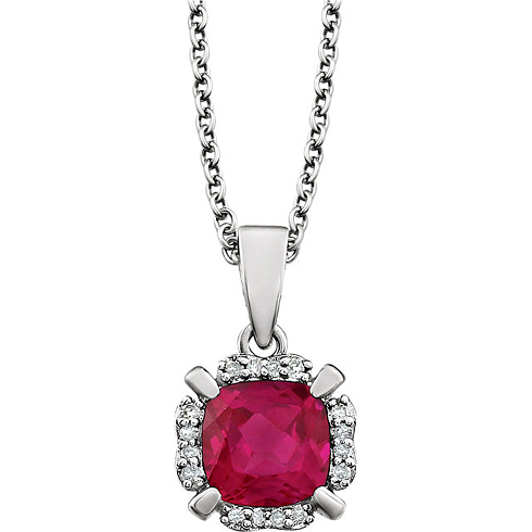 14kt White Gold 1.3 ct Cushion Cut Created Ruby & Diamond Halo Necklace