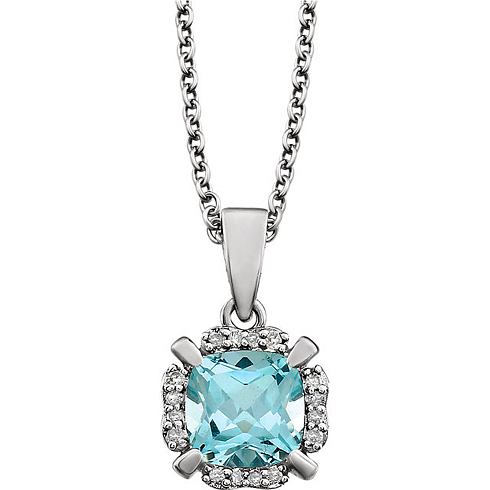 14kt White Gold 1.2 ct Cushion Cut Sky Blue Topaz & Diamond Halo Necklace