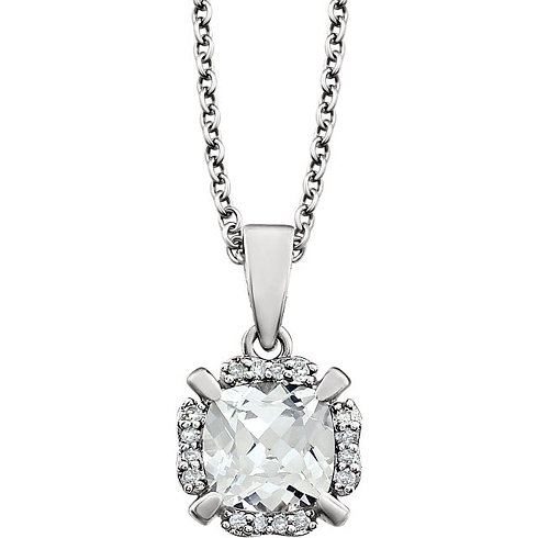 14kt White Gold 1 ct Cushion Cut Created White Sapphire & Diamond Halo Necklace