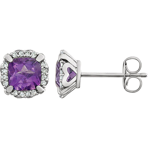 14kt White Gold 3/5 ct Cushion Cut Amethyst & Diamond Halo Earrings