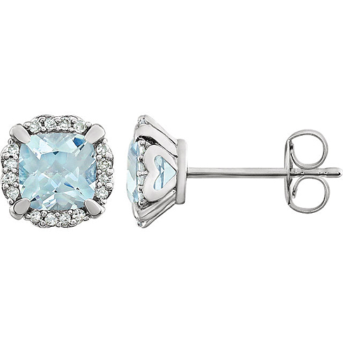14kt White Gold 3/5 ct Cushion Cut Aquamarine & Diamond Halo Earrings