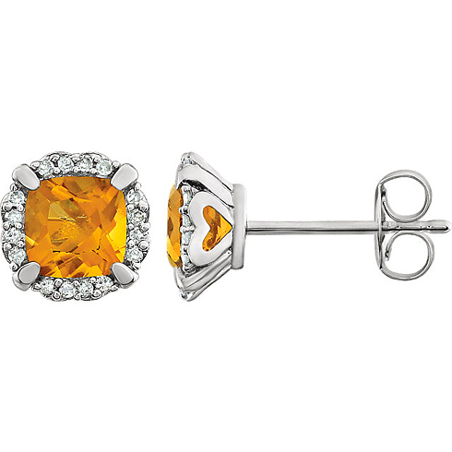 14kt White Gold 3/5 ct Cushion Cut Citrine & Diamond Halo Earrings