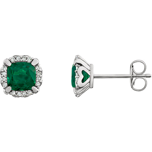 14kt White Gold 1/2 ct Cushion Cut Created Emerald & Diamond Halo Earrings