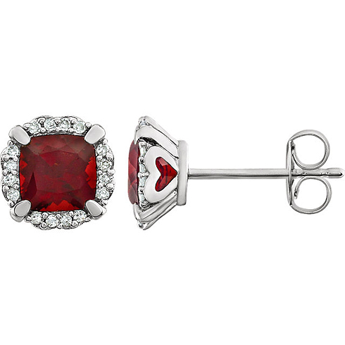 14kt White Gold 7/10 ct Cushion Cut Garnet & Diamond Halo Earrings