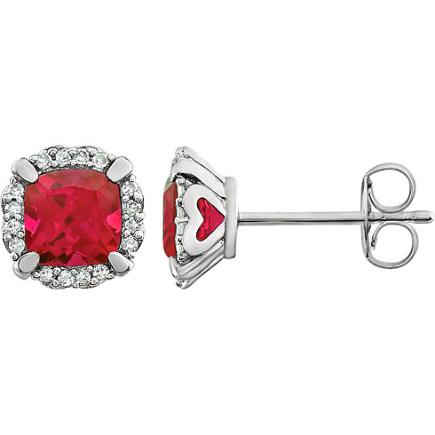 14kt White Gold 4/5 ct Cushion Cut Ruby & Diamond Halo Earrings