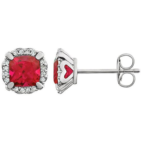 14kt White Gold 4/5 ct Cushion Cut Created Ruby & Diamond Halo Earrings