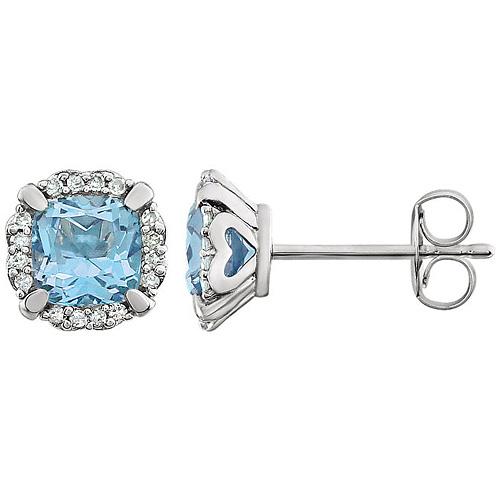 14kt White Gold 3/4 ct Cushion Cut Sky Blue Topaz & Diamond Earrings