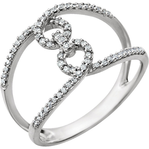14kt White Gold 1/6 ct Diamond Interlocking Fashion Ring