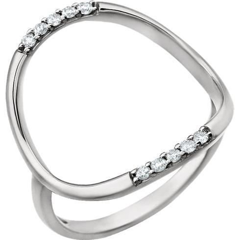 14kt White Gold 1/10 ct Diamond Super Hoop Ring