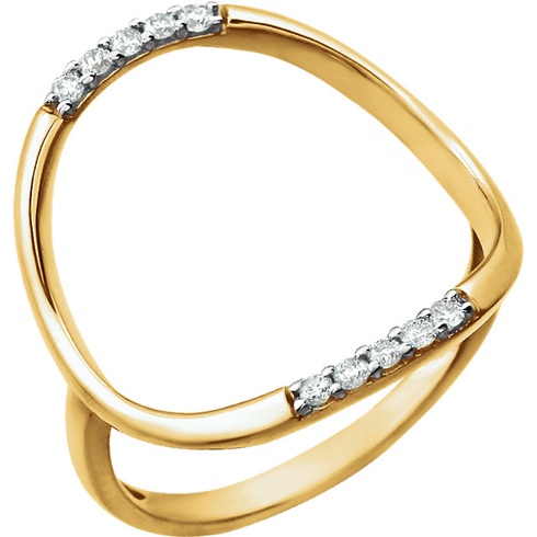 14kt Yellow Gold 1/10 ct Diamond Super Hoop Ring