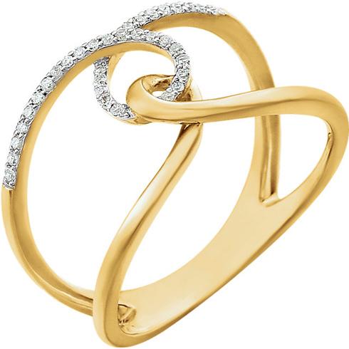 14kt Yellow Gold 1/10 ct Diamond Interlocking Loop Ring