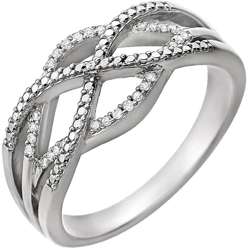 14kt White Gold .07 ct Diamond Fancy Criss Cross Ring