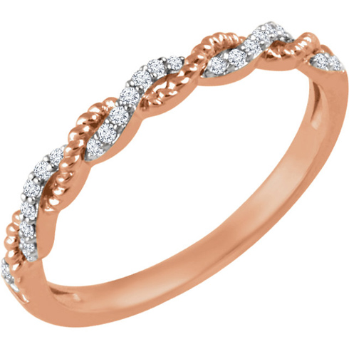 14kt Rose Gold 1/12 ct Diamond Stackable Rope Ring