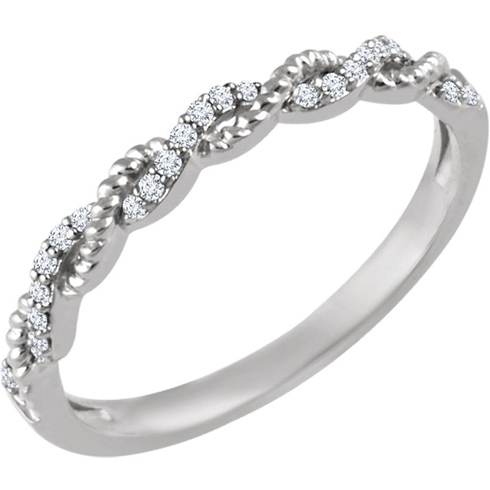 14kt White Gold 1/12 ct Diamond Stackable Rope Ring