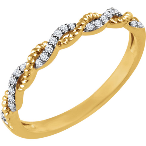 14kt Yellow Gold 1/12 ct Diamond Stackable Rope Ring