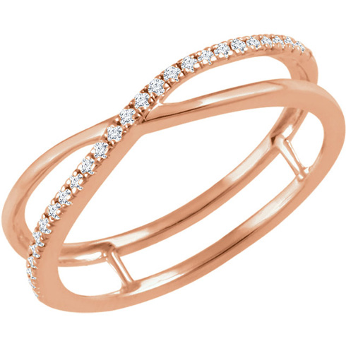 14kt Rose Gold 1/10 ct Diamond Criss Cross Frame Ring