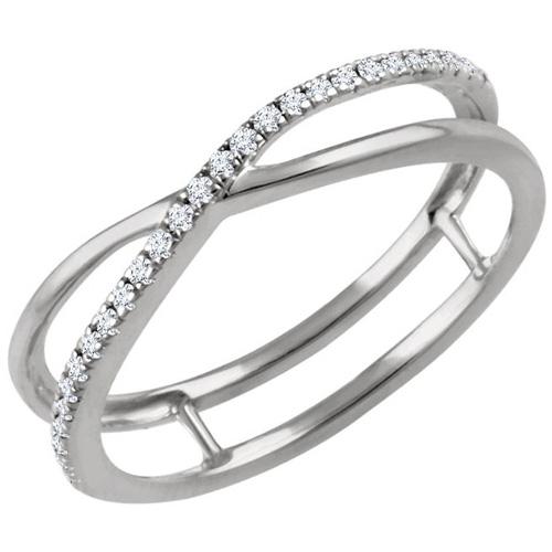 14kt White Gold 1/10 ct Diamond Criss Cross Frame Ring
