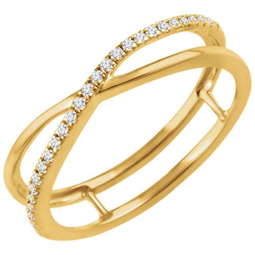 14kt Yellow Gold 1/10 ct Diamond Criss Cross Frame Ring