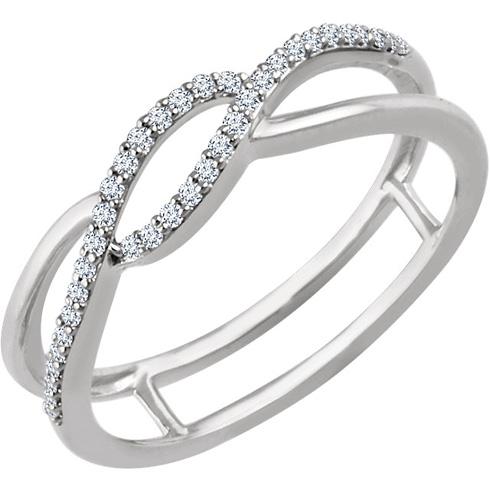 14kt White Gold 1/8 ct Diamond Bypass Frame Ring