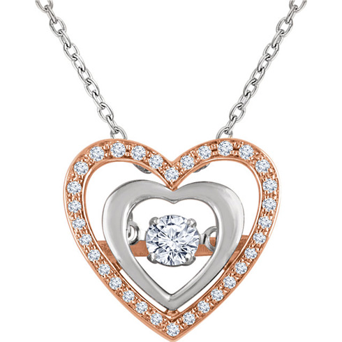 14kt Rose and White Gold 1/4 ct Diamond Mystara Heart Necklace