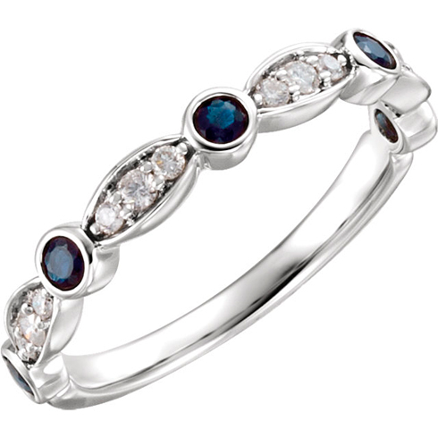 14kt White Gold Blue Sapphire and 1/6 ct Diamond Stackable Ring