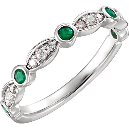 14kt White Gold Emerald and 1/6 ct Diamond Stackable Ring