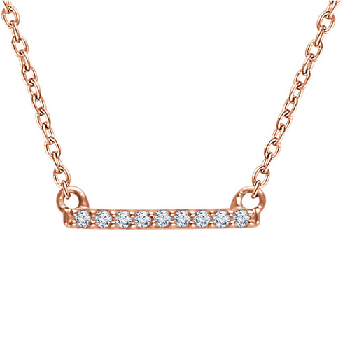 14kt Rose Gold .07 ct Diamond Bar 18in Necklace