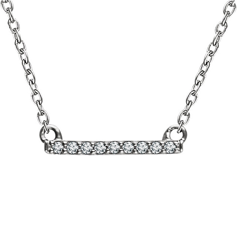 14kt White Gold .07 ct Diamond Bar 18in Necklace