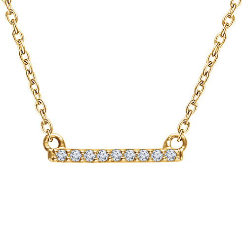 14kt Yellow Gold .07 ct Diamond Bar 18in Necklace