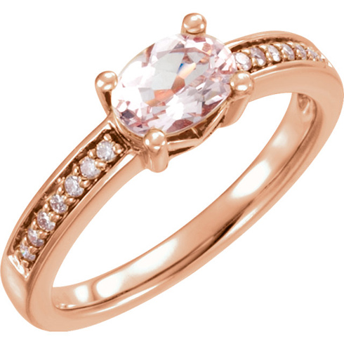 14kt Rose Gold .83 ct Oval Morganite & .05 ct tw Diamond Ring