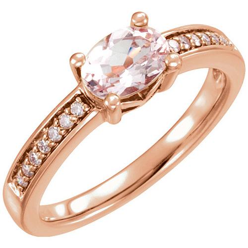 14kt Rose Gold .83 ct Oval Morganite & .05 ct tw Diamond Ring