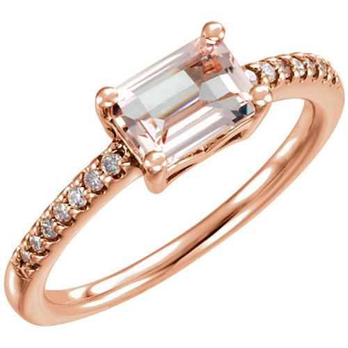 14kt Rose Gold 3/4 ct Morganite & 1/10 ct tw Diamond Ring