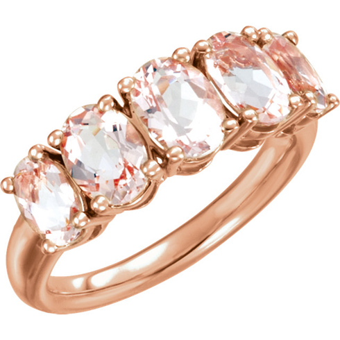 14kt Rose Gold 3.3 ct Five Stone Oval Morganite Ring